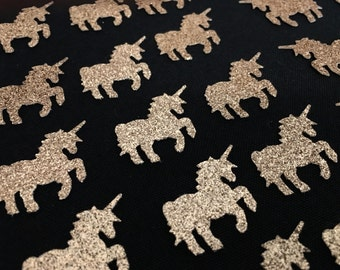 Gold unicorn confetti, Unicorn cutouts, Glitter Unicorns, Table confetti, Birthday party decorations.