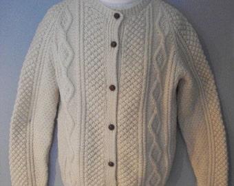 HAND Knitted IRISH fisherman pattern cardigan sweater