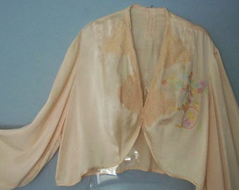 Vintage Antique silk bed Jacket with hand embroidery