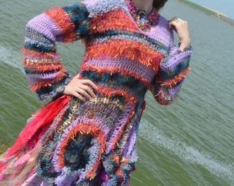 One of a kind Romantic sweater bohemian sweater freeform crochet sweater boho chic mori girl sweater fairy sweater