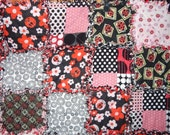 lady bug rag quilt blanket black red white DYE SALE cotton flannel throw 49 X 63 ready to ship pink handmade pink vintage fabric circle