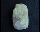 Drusy Geode Gemstone Quartz With Prehnite Pendant Bead,37x23x15mm,17.6g