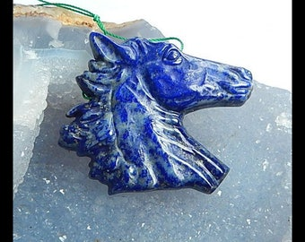 Carved Lapis Lazuli Horse Head Gemstone Pendant Bead,43x39x7mm,20.1g