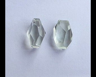 Green Quartz Faceted Cabochon Pair ,14x9x8mm,2.8g