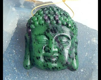 New,Carved Ruby And Zoisite Buddha Head Pendant Bead,49x40x13mm,48.9g