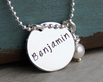 Personalized Jewelry / Hand stamped jewelry / Mommy Necklace / Flat Name Across Tag with pearl
