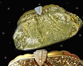1930s Whiting & Davis Gold Mesh Clutch Purse - 30s Vintage Art Deco Evening Bag with Rhinestones