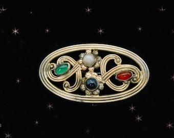 1940s 14K Gold Brooch with Gemstones - Vintage Symmetalic Sterling - Carnelian - Pearl - Onyx - Chrysoprase - vintage fine jewelry