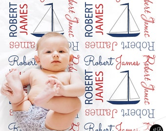 Nautical baby name blanket personalized baby gift anchor sailboat baby name blanket personalized baby gift nautical blanket boy baby blanket negle Images