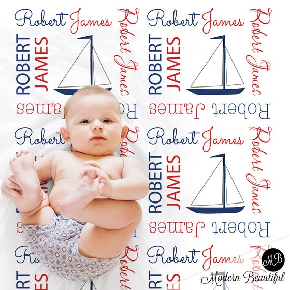 Sailboat baby name blanket personalized baby gift nautical like this item negle Images