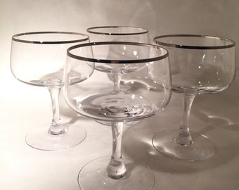 4 Fostoria Crystal Champagne Coupes