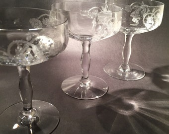 3 Etched Crystal Champagne Glasses - Coupes - Fostoria Thistle