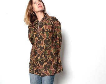 vintage CAMO field jacket vintage 80s 90s faded button up down camouflage coat