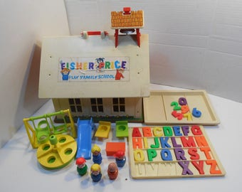 Vintage Fisher Price Little People, School House #923 with Outdoor Playground Equipment Magnetic Alphabet, Student desks and Teachers chair