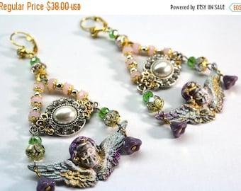 SALE Cherub Earrings, Chandelier Earrings, Baroque Jewelry, Assemblage Jewelry, Statement Earrings, Angel Earrings OOAK