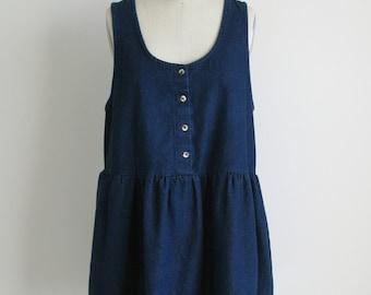 sweet vintage blue denim baby doll mini dress xs-m