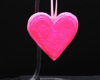 Neon Pink Heart Handmade Ornament~Cottage Chic Decor~Shabby Chic Decor~Sweet 16 Gift~Pink Wedding~Pink Anniversary~ Unique Gift