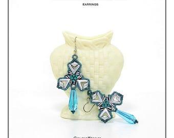 Bead pattern DIY beaded earrings Geometrical essence made with AVA beads, Diamonduos, O beads and seed beads