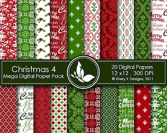 40% off Christmas 4 Mega Paper Pack - 20 Printable Digital papers - 12 x12 - 300 DPI ////// 4