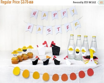 Printable Chicken Decor - DIY Easter -  Chicks and Hens Décor Paper Craft Kit - Diy - Easter Egg Hunt - Paper Toy- Hens party - Eggs Basket