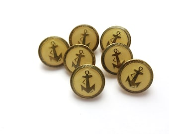 7 Anchors Buttons, Vintage Antique Gold Metal & Yellow Buttons