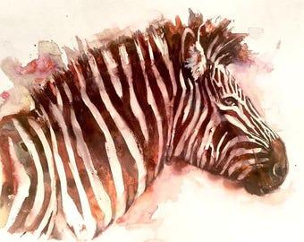 "Zebra no.5 - 12""x18"" ORIGINAL WATERCOLOR PAINTING"
