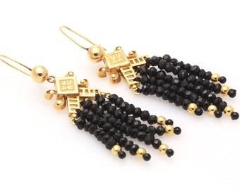 Victorian Black Spinel Tassel Earrings