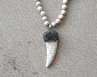 Pave White Howlite Horn Pendant, Knotted Turquoise Necklace