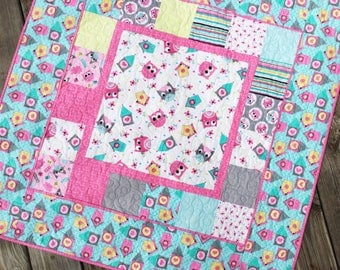 Baby Girl Quilt Complete KIT 'Owl School'