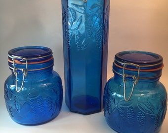 set of 3  blue glass canisters italy