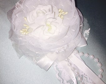 White Baby Christening Headbands, Headband, Baptism, Blessings, Infant, Toddler, Accessories, Baby, Hair Bow