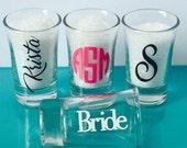 Shot Glasses, Personalized, 2 oz each, monogram, name, saying