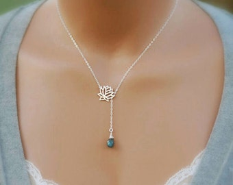Personalized Mothers Necklace, Customized Lariat Necklace, Y Necklace, Birthstone Jewelry, Bridesmaid Necklace, Sterling Silver Necklace