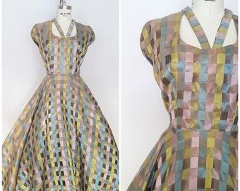 Vintage 1950s Iridescent Dress / Shiny Squares / Full Skirt / XS