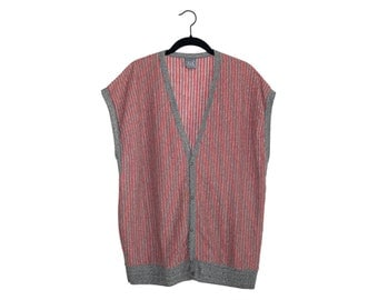 Vintage Le Tigre Black w/ Red & Grey Stripes 50/50 Oversize Button Up Cardigan Vest, Made in USA - XL
