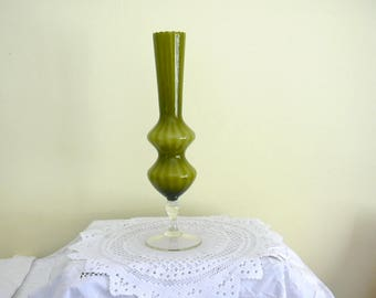 """Tall 13"""" Empoli Olive / Sage Green & White Ribbed Cased Glass Vase Clear Glass Foot Mid Century Retro Chic  Italy"""