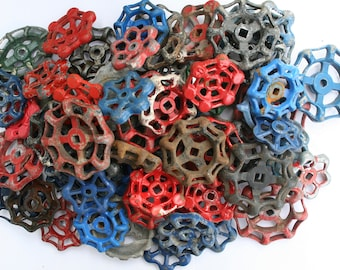Vintage Faucet  Handles-65 Handles-Super Mixed Batch- Blue ,Red,Silver,orange,green-Less than 1 Buck per Handle-Steampunk,Industrial