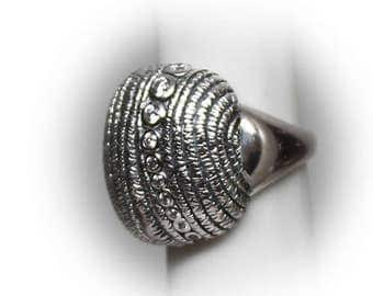 Sterling Silver Ladies Fashion Ring accented with Diamond Simulants