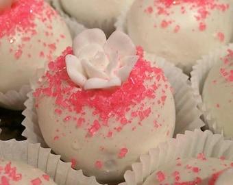 White Chocolate Pink Rose Cakepop, Cakeball Truffles