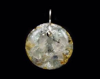 Orgone  Pendant.  Arkansas Crystals, Rose Quartz, Fluorite, Elite Shungite, Petalite, Phenacite, Rhodizite, Tourmaline (c9)