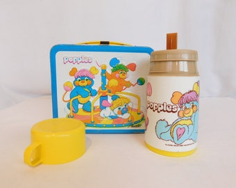Vintage 80's Popples Metal Lunch Box With Thermos