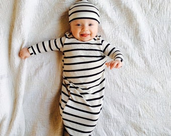 Boy coming home outfit Newborn boy outfit Newborn boy gown Hospital outfit boy Knotted baby gown Take home outfit baby hat baby clothes
