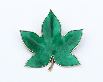 Vintage Sterling E. Dragsted Enameled Leaf Brooch Denmark Danish