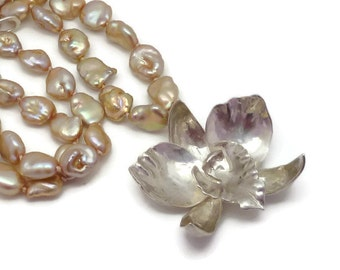 Silver Cattleya Orchid and Pearl Necklace