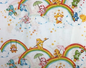 Vintage 80s Care Bear Bead Sheet Rainbows Care Bears Flat Sheet