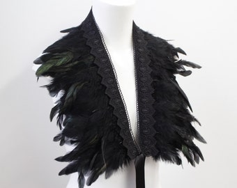 Feather Shawl Feather Cape Black Feathers Black Lace
