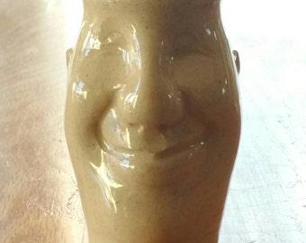 "Handmade Pot Head Stash Jar, Sculpted Ceramic Jar, ""Sal"""