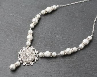 Bridal necklace, wedding necklace, Bridal Pearl and crystal necklace, Bridal jewelry, wedding necklace, Bridal crystal necklace