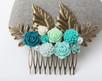 Wedding comb Nature wedding hair comb Rustic wedding comb Teal and Green hair  Woodland hair accessories rustic weddig hair comb Bridal comb
