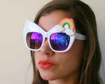 The RAINBOW CAT Sunglasses..handmade. retro. colorful shades. hipster. kitsch. costume. rainbow brite. party glasses. oversized. mod. twiggy
